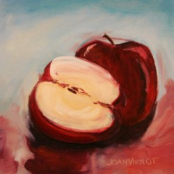 Oil painting of an apple and a half