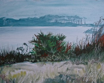 Oil painting of Western Lake and the Umbrella Trees, at Grayton Beach State Park