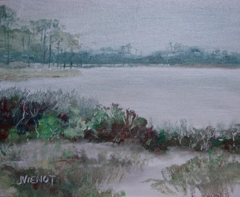 Oil painting of Western Lake looking towards 30A, at Grayton Beach State Park