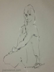 Gesture drawing, female seated in gown, knee up, with attitude