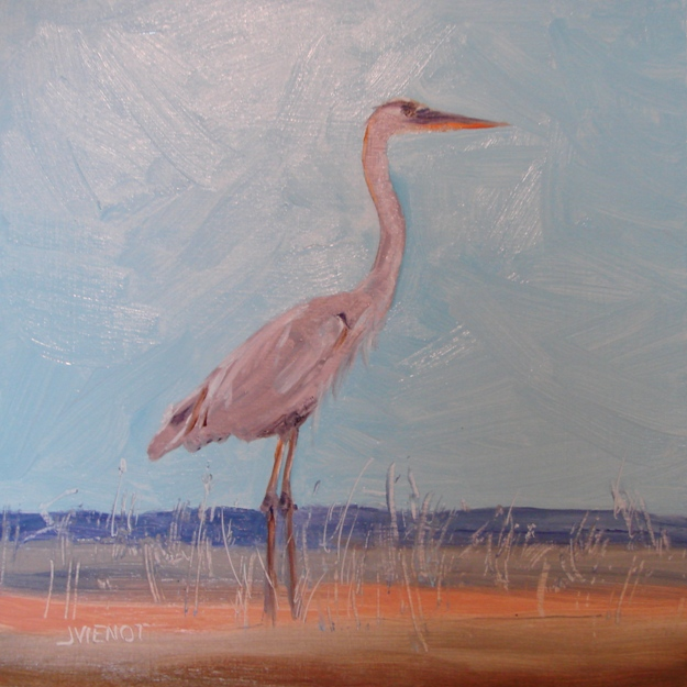 Oil painting of blue heron standing on purple, brown, and orange stripes
