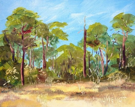 Oil painting of a creek running into Mack Bayou, in Santa Rosa Beach, Florida
