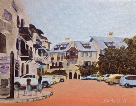 Oil painting of the view north near Wild Olives on North Barrett Square in Rosemary Beach, Florida