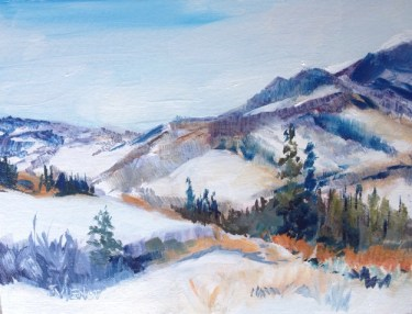 Oil painting of the view from Four Amigos at Silverthorne, Colorado