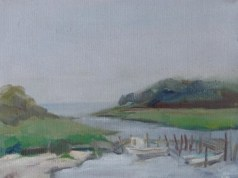 Oil painting of evening light on Two-Mile Channel, Apalachicola, FL