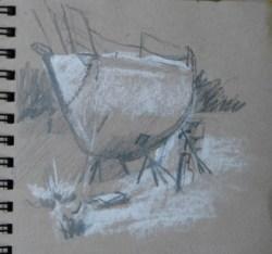 2014-0508 Thumbnail Sketch, Boat in Drydock