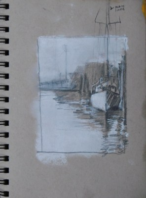 2014-0509 Value Sketch, Docked Sailboat