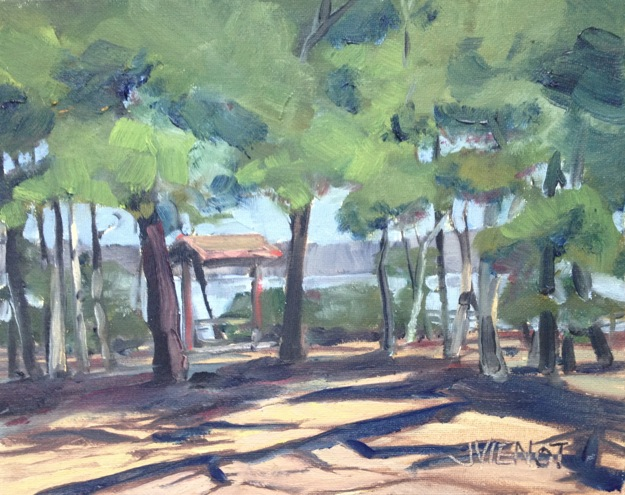 Oil painting of the trees and cast shadows at Fred Gannon Boggy Bayou State Park, Niceville, FL