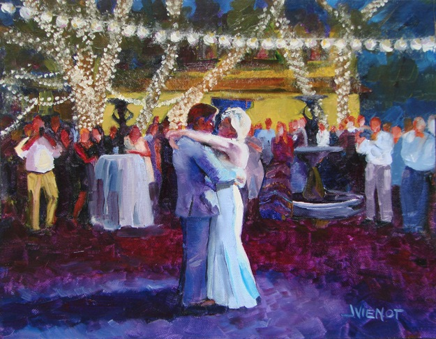 Oil painting of couple dancing outdoors at Grayt Grounds in wedding reception - final piece