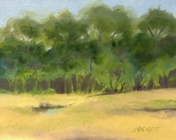 Oil painting of the marsh and trees at the edge of Camp Creek Lake, with purple shadows