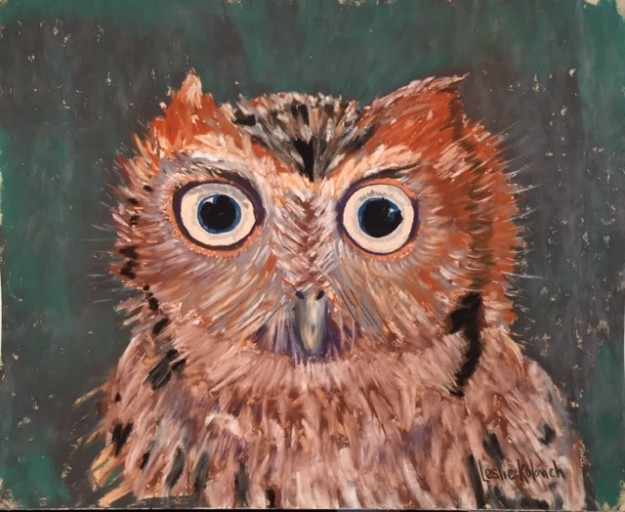 Soft pastel painting of an owl, by Leslie Kolovich