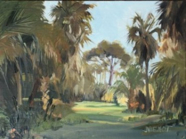 Oil painting of the clearing from the bay boardwalk on St. George Island