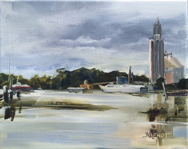 Oil painting of the industrial facilities and barges at Four Mile Landing in Freeport, FL