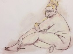 Warm-up sketch of large female nude, seated