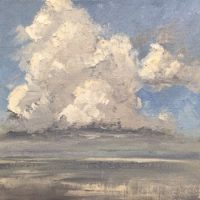 Oil painting of cumulus clouds over the Choctawhatchee Bay, from Nick's Restaurant; 1st of 3