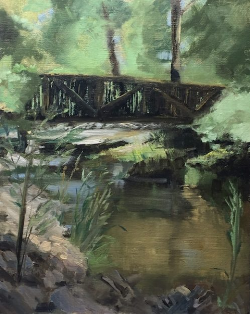 Oil painting of the bridge and reflective water at the Hacienda Martinez, Taos, NM