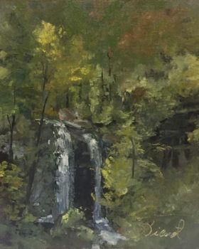 Oil painting at Dry Falls, NC, painted en plein air