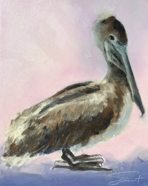 Oil painting of a pelican with pink background