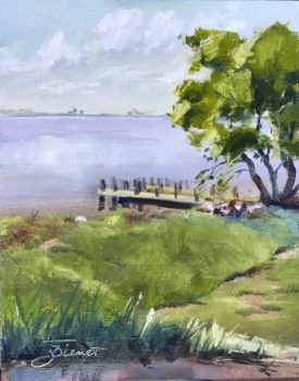 Oil painting of the grassy rise edging the roadside park between Basin Bayou and Villa Tasso on the Choctawhatchee Bay in Florida