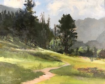 Oil painting of the late afternoon light on the meadow at Moraine Park, above Estes Park