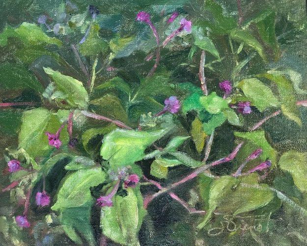 Oil painting of Four O'Clocks at Oak Marina, Niceville, FL