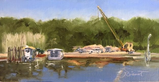 Oil painting of site of oyster shell bagging by the Conservation Corps of the Forgotten Coast, for maintaining and restoring eroding coastline