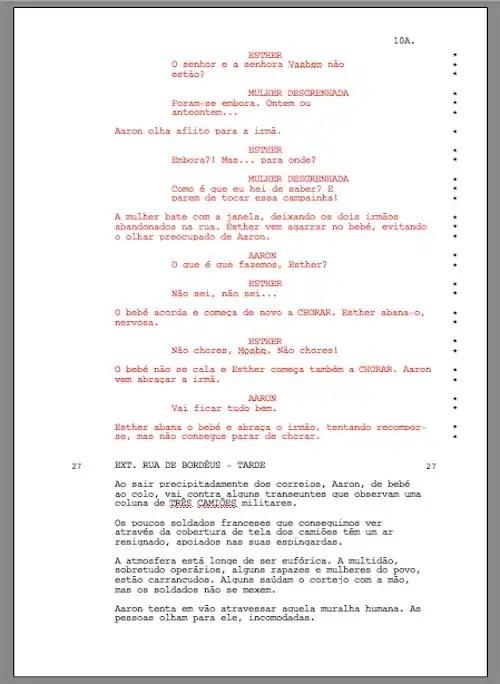 shooting script - página com numeração trancada