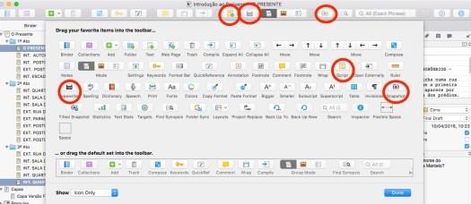 Opções de ferramentas do Scrivener