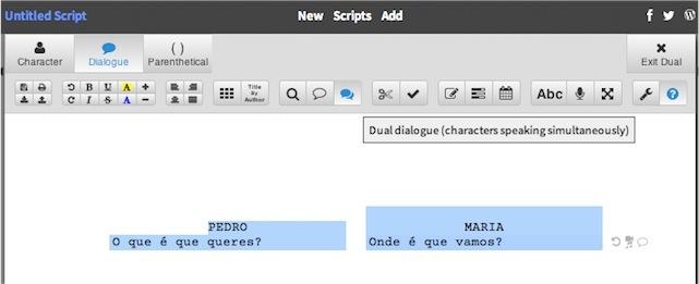 dual dialogue WriterDuet