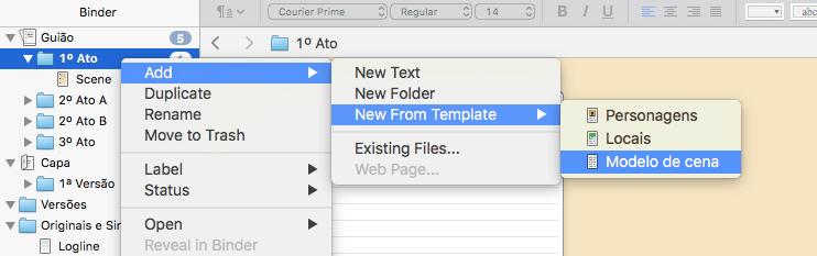 Criar um novo texto a partir do modelo - no rato