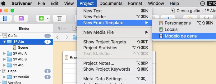 Criar um novo texto a partir do modelo - no menu