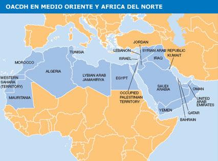 Mapa das revoltas na África e Oriente Médio