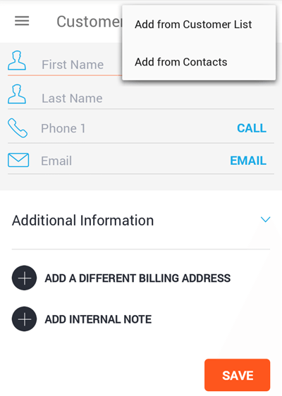 copy customer info to invoice