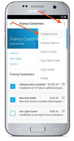 estimate to invoice app