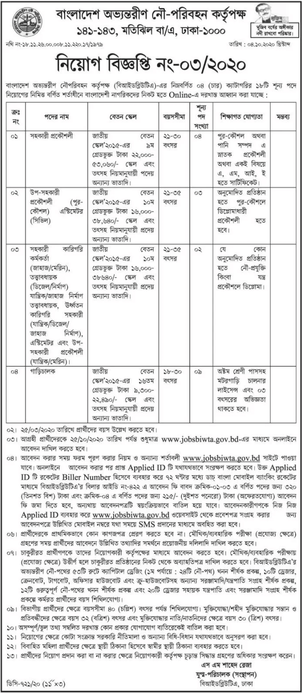 Bangladesh Inland Water Transport Authority job circular