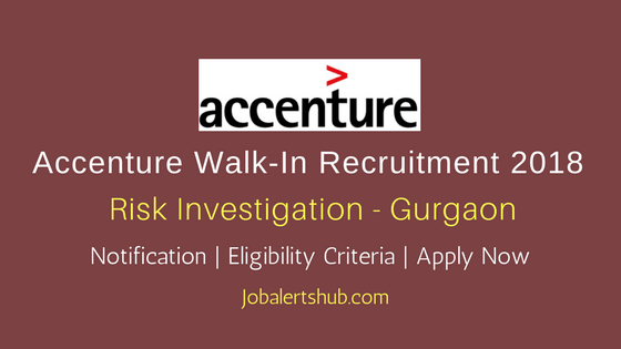 Accenture Freshers Associate 2018 Risk Investigation – 100 Vacancies   Gurgaon   Degree/PG   Apply Now