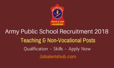 Army Public School Recruitment 2018   PGT, TGT & PRT, Lab Attendant   10+2, Any Degree, PG   Apply Now @ armyschoolasr.org.in