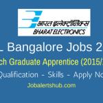 BEL Bangalore Jobs 2018 | Graduate Apprentice | BE/ B.Tech | Apply Now