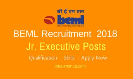 BEML 2018 Jr. Executive Posts Recruitment   MCA (PG)   Apply Now