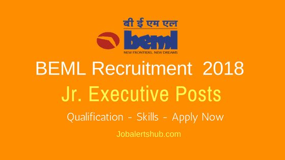 BEML 2018 Jr. Executive Posts Recruitment | MCA (PG) | Apply Now