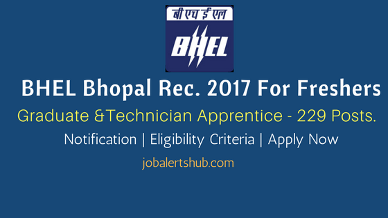 BHEL Bhopal 2017 | Apprentice – 229 Vacancies | Diploma/ B.Tech | Apply Now
