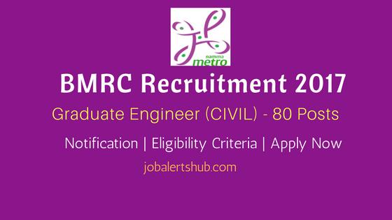 BMRC Recruitment 2017 | Graduate Engineer (CIVIL) – 80 Vacancies | Civil Engg. | Apply Now