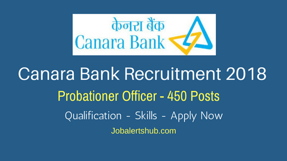 Canara Bank Recruitment 2018 | Probationary Officer – 450 Vacancies | Graduation | Apply Now