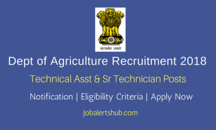 Dept. Of Agriculture 2018 Technical Asst & Sr Technician Posts – 06 Vacancies   ITI, Diploma   Apply Now
