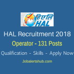 HAL Recruitment 2018 | Operator – 131 Posts | 10th+ITI | Apply Now @ www.hal-india.com