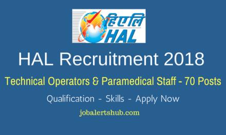 HAL Technical Operators & Paramedical Staff Recruitment – 70 Vacancies   ITI/Degree   Apply Now