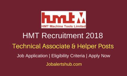 HMT 2018 Technical Associate – I & II & Helper Jobs – 11 Vacancies   10th/ ITI/Diploma   Apply Now