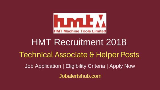 HMT 2018 Technical Associate – I & II & Helper Jobs – 11 Vacancies | 10th/ ITI/Diploma | Apply Now