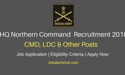Northern Command LDC & Other Jobs 2018 – 90 Vacancies | 10th, 12th | Apply Now