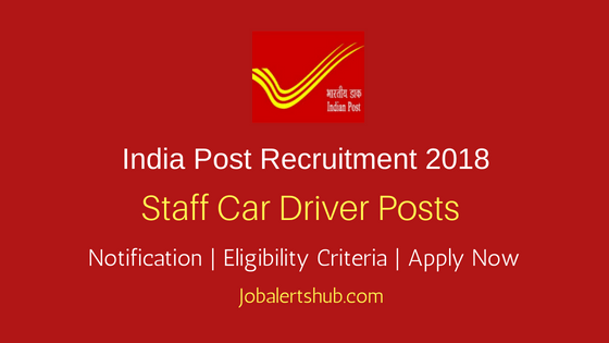 India Post Hyderabad 2018 Staff Car Driver Posts – 10 Vacancies | 10th With Driving License | Apply Now